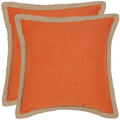 Felicia�100% Cotton Throw Pillow Color: Orange