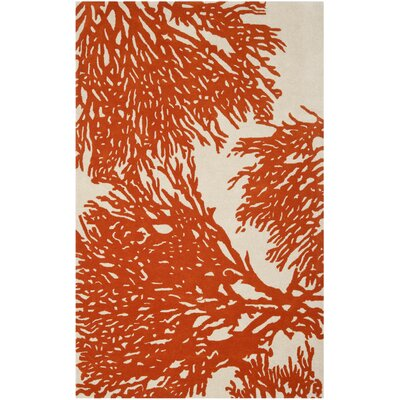 Juniper Hand-Tufted Beige / Terracotta Area Rug Rug Size: 5 x 8