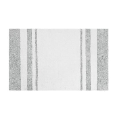 Bellair-Meadowbrook Terrace Bath Rug Size: 27 x 45, Color: White/Grey