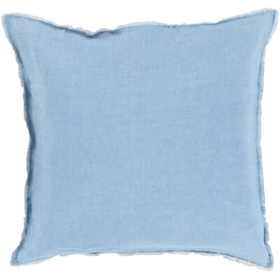 Bard Linen Throw Pillow Size: 22 H x 22 W x 4 D, Color: Blue, Filler: Down