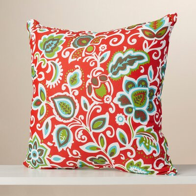 Seafarer Indoor/Outdoor Euro Pillow Fabric: Floral Red