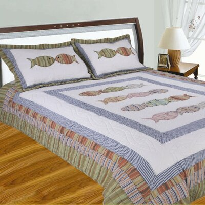 Aliana Handcrafted Fish Quilt Size: King