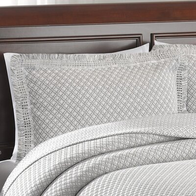 Beverly Hills Woven Jacquard Standard Sham Color: Grey/White