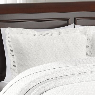 Beverly Hills Woven Jacquard Standard Sham Color: White