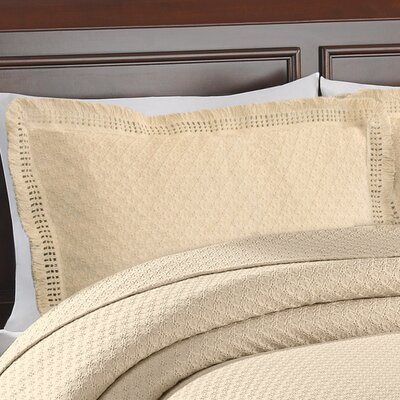 Beverly Hills Woven Jacquard Standard Sham Color: Ivory
