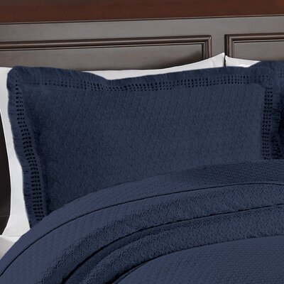 Beverly Hills Woven Jacquard Standard Sham Color: Blue