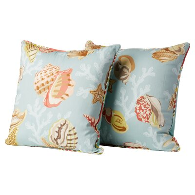 Sylvie Sea Glass Cotton Throw Pillow Color: Blue