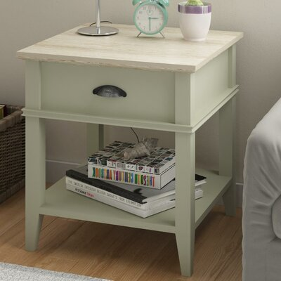 Montverde End Table with 1 Drawer Base Finish: Light Sage