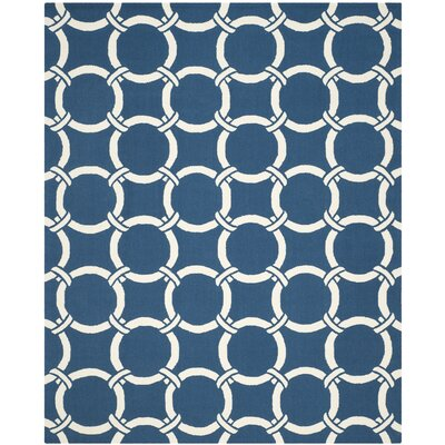 Hadriana Navy/Ivory Indoor/Outdoor Area Rug Rug Size: 5 x 8