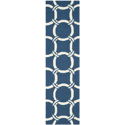Hadriana Navy/Ivory Indoor/Outdoor Area Rug Rug Size: Runner 23 x 8