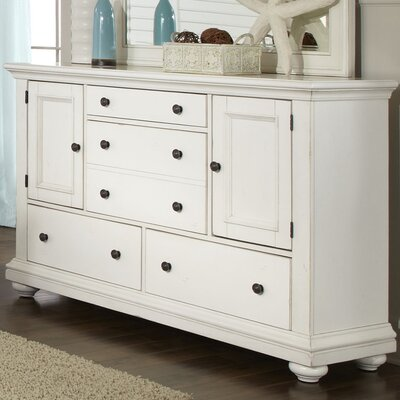 Galsworthy 5 Drawer Combo Dresser Color: Antique White