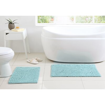 Kassidy Chenille Bath Rug Color: Blue Denim