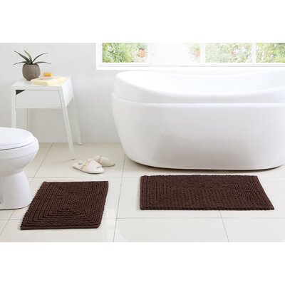 Kassidy Chenille Bath Rug Color: Chocolate