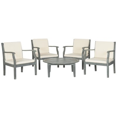 Atia 5 Piece Lounge Seating Group with Cushions Finish: Ash Grey