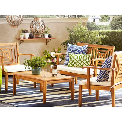 Tullia 4 Piece Lounge Seating Group with Cream Cushions Finish: Teak Brown