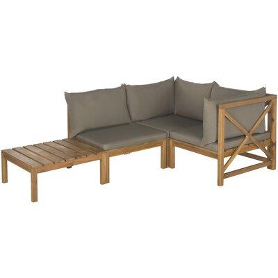 Sanibel Lynwood Modular Outdoor 4 Piece Seating Group with Cushion Finish: Teak  Brown