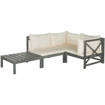 Sanibel Lynwood Modular Outdoor 4 Piece Seating Group with Cushion Finish: Ash Grey