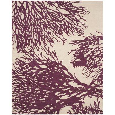 Juniper Hand-Tufted Beige/Purple Area Rug Rug Size: 8' x 10'