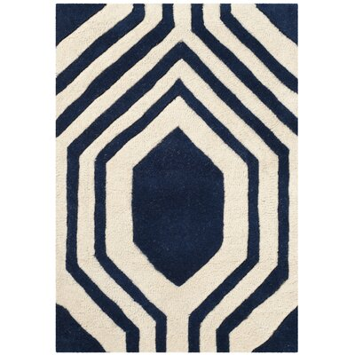 Aula Hand-Tufted Dark Blue/Ivory Area Rug Rug Size: Rectangle 2 x 3