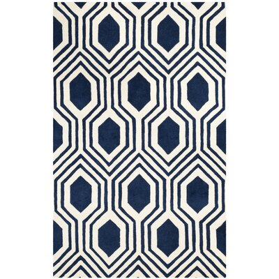 Mims Hand-Tufted Dark Blue/Ivory Area Rug Rug Size: 4 x 6