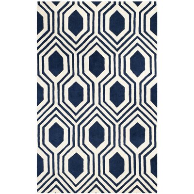 Mims Hand-Tufted Dark Blue/Ivory Area Rug Rug Size: 5 x 8