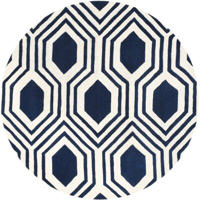 Mims Hand-Tufted Dark Blue/Ivory Area Rug Rug Size: Round 5