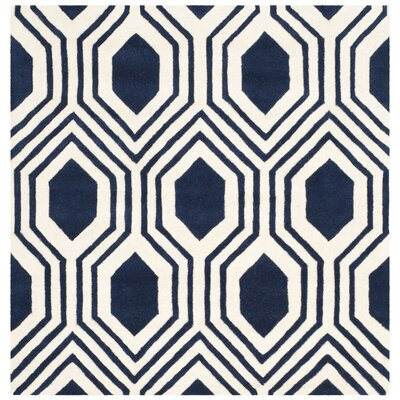 Aula Hand-Tufted Dark Blue/Ivory Area Rug Rug Size: Square 5