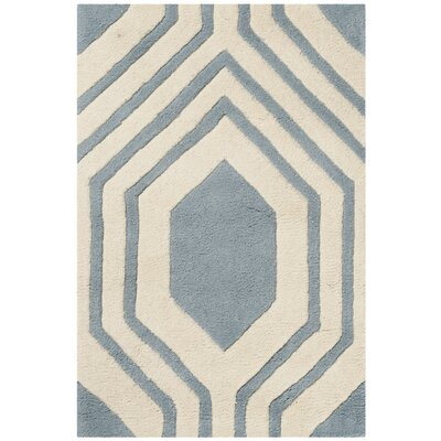 Aula Hand-Tufted Rectangle Blue/Ivory Area Rug Rug Size: 2 x 3