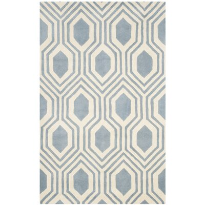 Aula Hand-Tufted Rectangle Blue/Ivory Area Rug Rug Size: 5 x 8