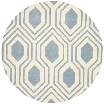 Aula Hand-Tufted Rectangle Blue/Ivory Area Rug Rug Size: Round 5