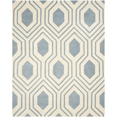 Aula Hand-Tufted Rectangle Blue/Ivory Area Rug Rug Size: 6 x 9