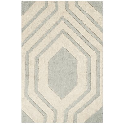 Aula Hand-Tufted Grey/Ivory Area Rug Rug Size: Rectangle 2 x 3