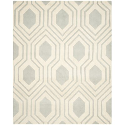Aula Hand-Tufted Grey/Ivory Area Rug Rug Size: Rectangle 8 x 10