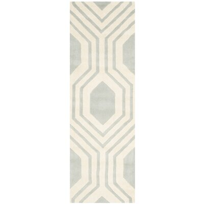 Mims Hand-Tufted Grey/Ivory Area Rug Rug Size: Runner 23 x 7