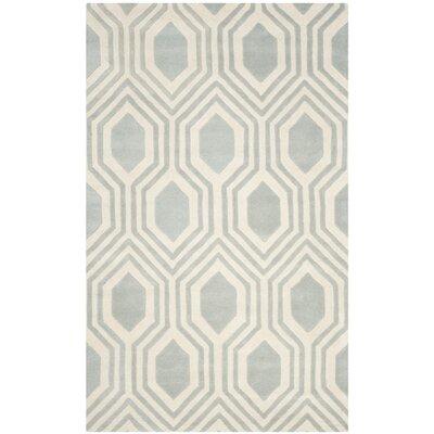 Aula Hand-Tufted Grey/Ivory Area Rug Rug Size: 5 x 8