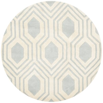 Mims Hand-Tufted Grey/Ivory Area Rug Rug Size: Round 5