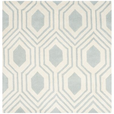 Aula Hand-Tufted Grey/Ivory Area Rug Rug Size: Square 5