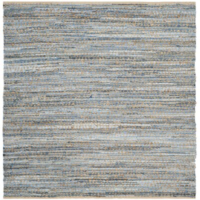Arria Hand-Woven Natural/Blue Jute Area Rug Rug Size: Square 6
