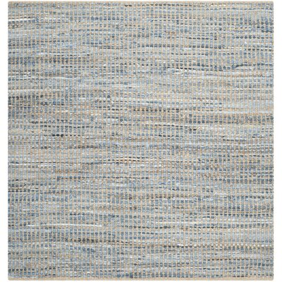 Gilchrist Hand-Woven Natural/Blue Area Rug Rug Size: Square 6'