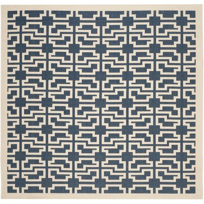 Inverness Highlands Navy/Beige Indoor/Outdoor Area Rug Rug Size: Square 710