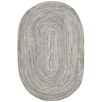 Palm Coast Hand-Woven Natural/Blue Area Rug Rug Size: Oval 6 x 9