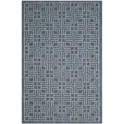 Romola Navy/Grey Area Rug Rug Size: 53 x 77