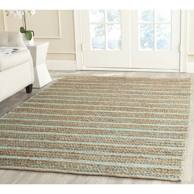 Marshville Hand-Woven Aqua/Beige Area Rug Rug Size: Rectangle 4 x 6