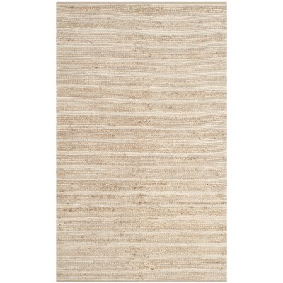 Arria Hand-Woven Rectangle Natural/Ivory Area Rug Rug Size: Rectangle 2-3 X 8
