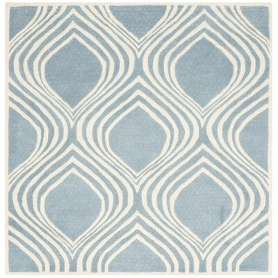 Aula Hand-Tufted Blue/Ivory Area Rug Rug Size: Square 5