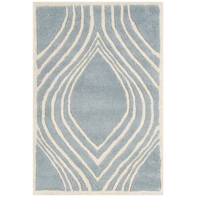 Aula Hand-Tufted Blue/Ivory Area Rug Rug Size: Rectangle 2 x 3