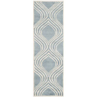 Mims Hand-Tufted Blue/Ivory Area Rug Rug Size: Runner 23 x 7