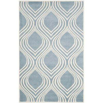 Mims Hand-Tufted Blue/Ivory Area Rug Rug Size: 6 x 9