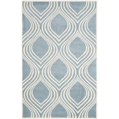 Aula Hand-Tufted Blue/Ivory Area Rug Rug Size: 4 x 6