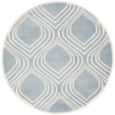 Aula Hand-Tufted Blue/Ivory Area Rug Rug Size: Round 5